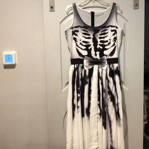 Dresses & Skirts - Skeleton rib cage flare dress. NWOT!